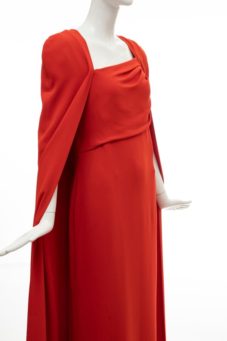 Women's Tom Ford Runway Silk Persimmon Evening Dress With Cape, Fall 2012 For Sale