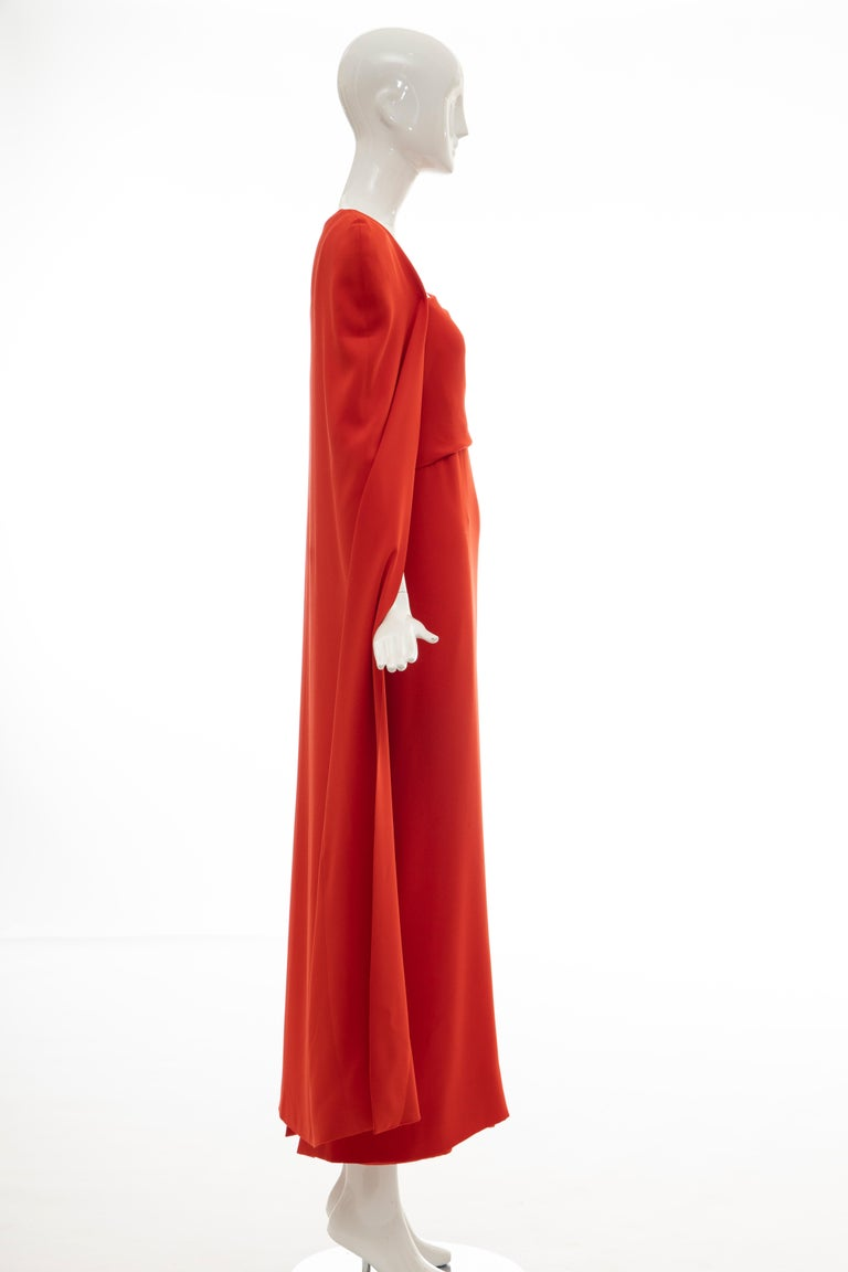 Tom Ford Runway Silk Persimmon Evening Dress With Cape, Fall 2012 For Sale 1