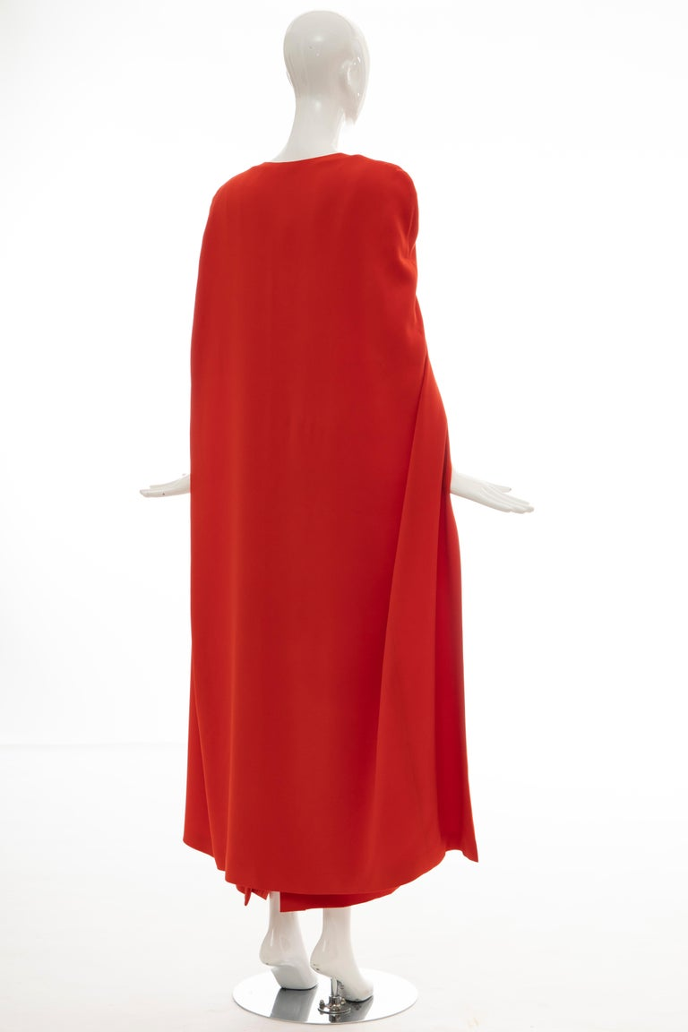 Tom Ford Runway Silk Persimmon Evening Dress With Cape, Fall 2012 For Sale 2