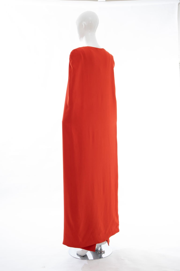 Tom Ford Runway Silk Persimmon Evening Dress With Cape, Fall 2012 For Sale 3