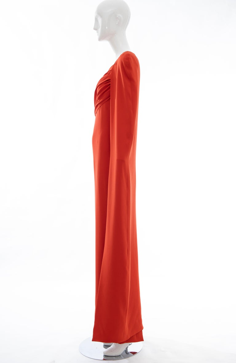 Tom Ford Runway Silk Persimmon Evening Dress With Cape, Fall 2012 For Sale 4