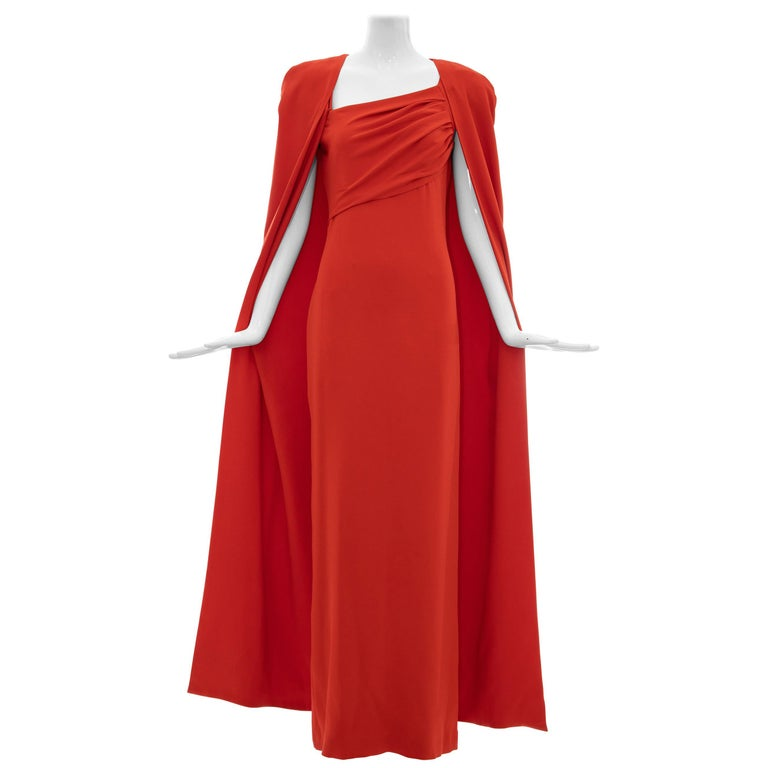 Tom Ford Runway Silk Persimmon Evening Dress With Cape, Fall 2012 For Sale