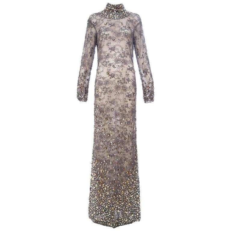 Tom Ford lace-appliquéd evening dress, 2011