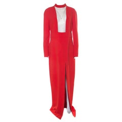 Tom Ford Scarlet Red Stretch Crepe Mesh Paneled Gown L