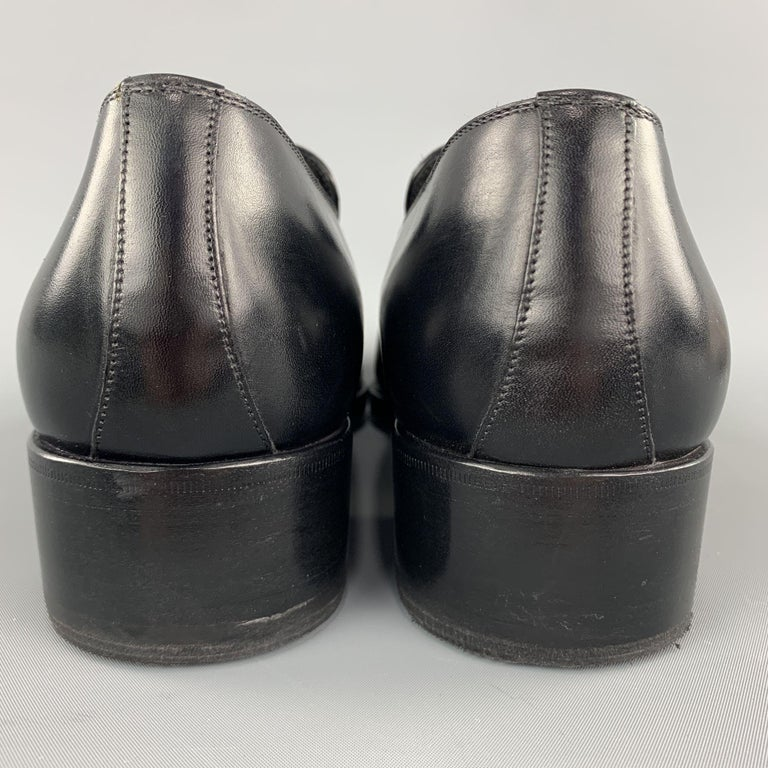 TOM FORD Shoes - Size 12 Black Solid Leather Slip On Loafers  For Sale 1