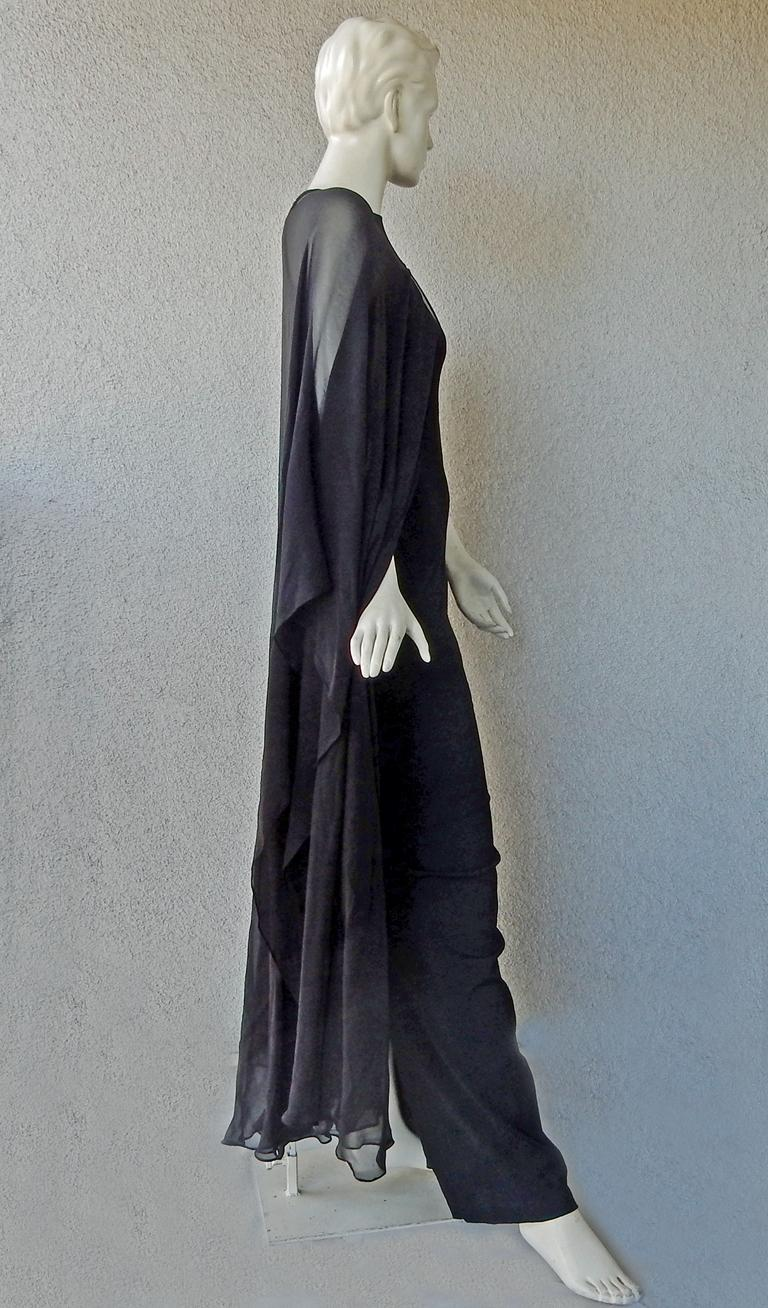 Tom Ford Signature Black Body Hugging Gown with Cape  New! In New Condition For Sale In Los Angeles, CA