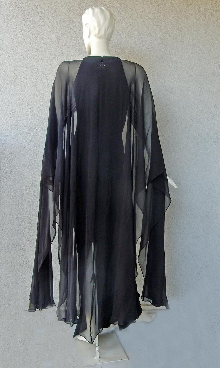 Women's Tom Ford Signature Black Body Hugging Gown with Cape  New! For Sale