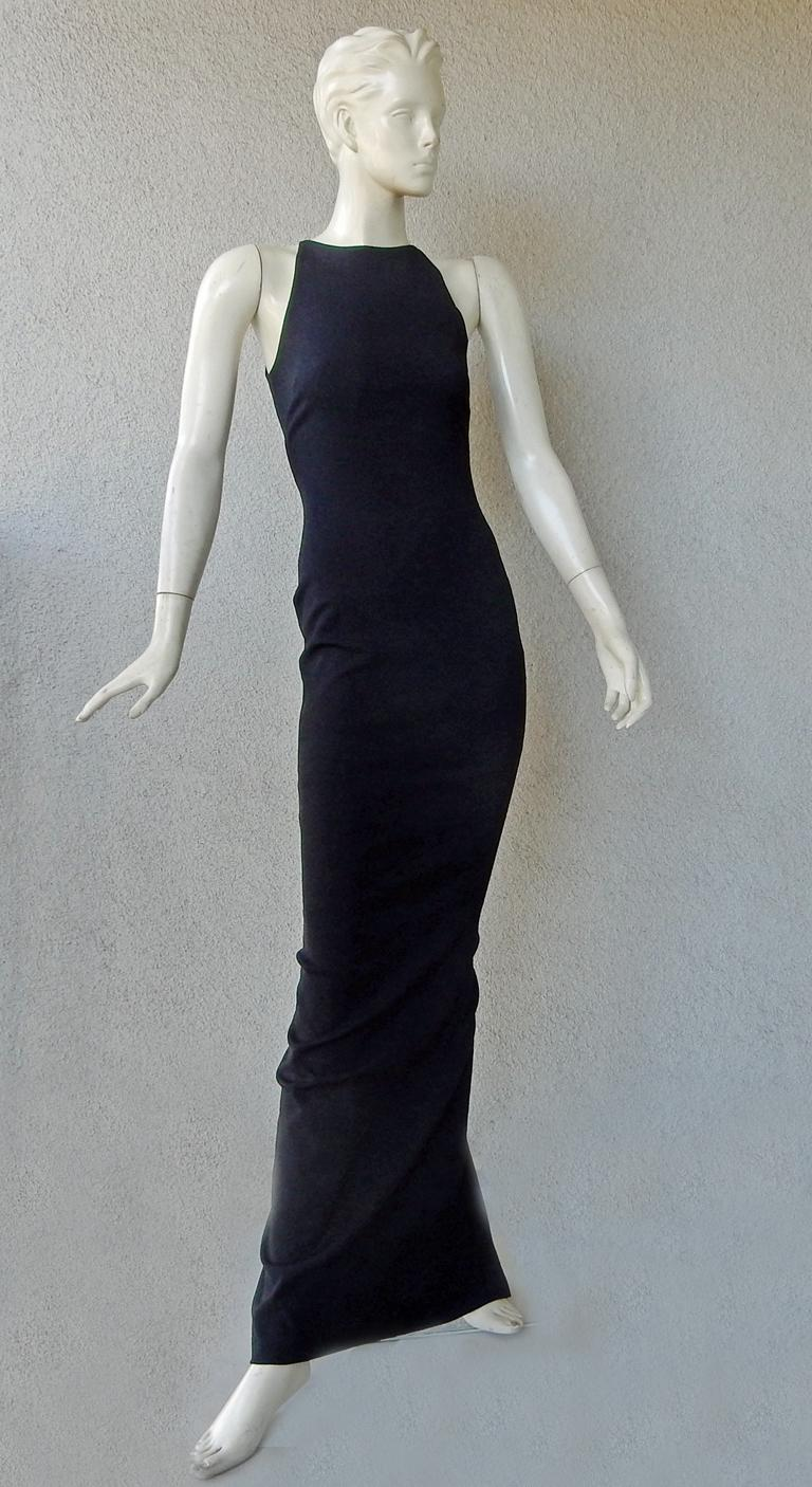 Tom Ford Signature Black Body Hugging Gown with Cape  New! For Sale 1