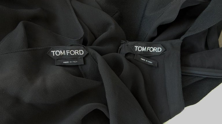 Tom Ford Signature Black Body Hugging Gown with Cape  New! For Sale 4