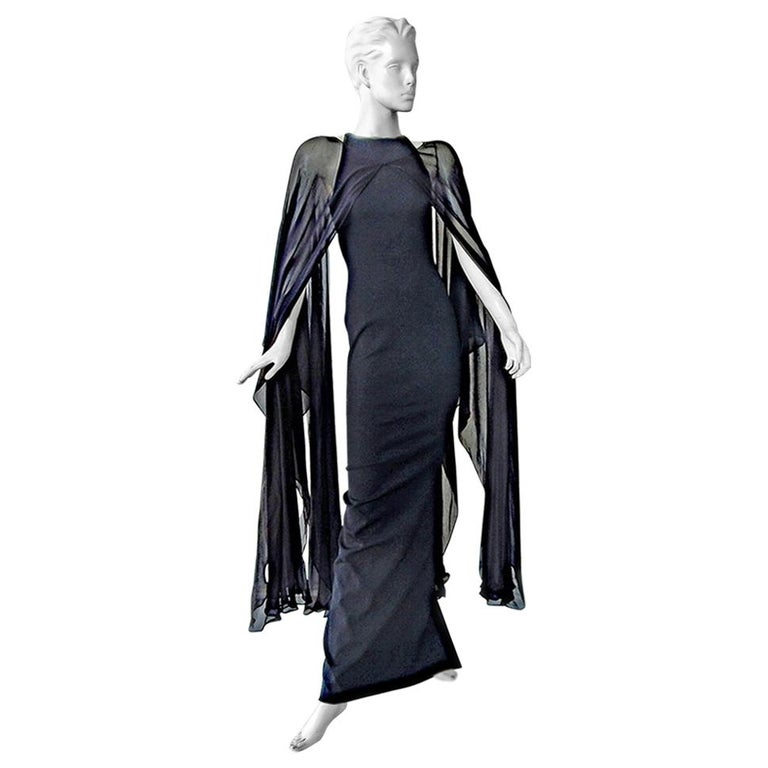 Tom Ford Signature Black Body Hugging Gown with Cape  New! For Sale