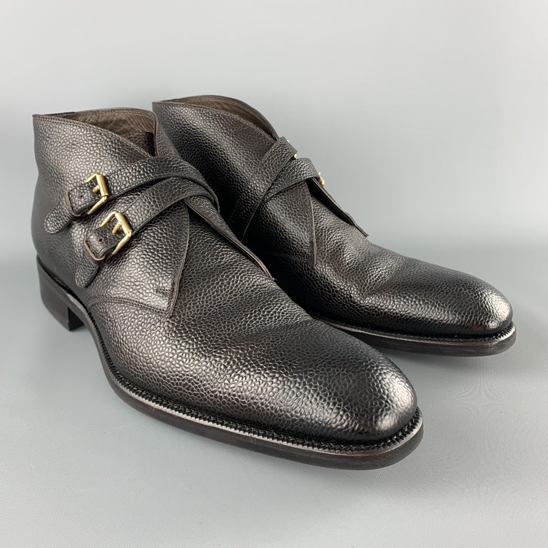 Black TOM FORD Size 10.5 Dark Brown Pebbled Grain Leather Double Strap Ankle Boots For Sale
