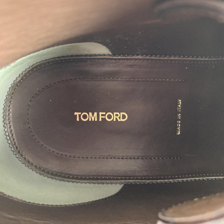 TOM FORD Size 10.5 Dark Brown Pebbled Grain Leather Double Strap Ankle Boots For Sale 3