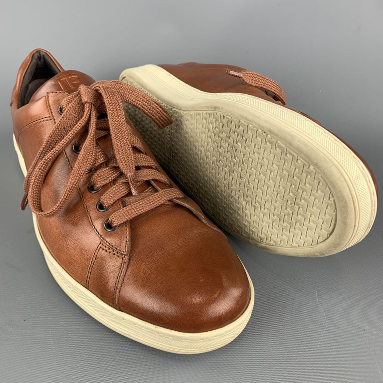 TOM FORD Size 11 Tan Solid Leather Lace Up Sneakers In Excellent Condition For Sale In San Francisco, CA