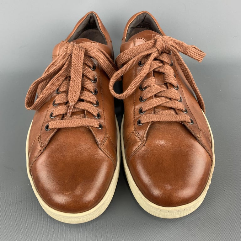 Men's TOM FORD Size 11 Tan Solid Leather Lace Up Sneakers For Sale