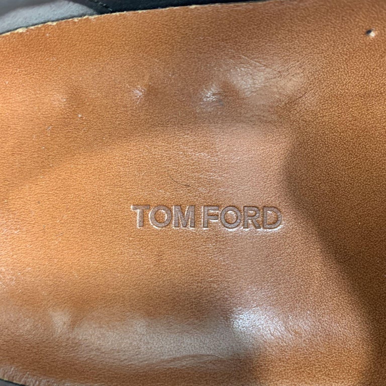 TOM FORD Size 11 Tan Solid Leather Lace Up Sneakers For Sale 2