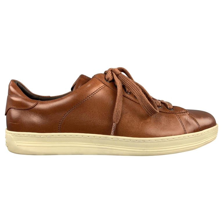 TOM FORD Size 11 Tan Solid Leather Lace Up Sneakers For Sale