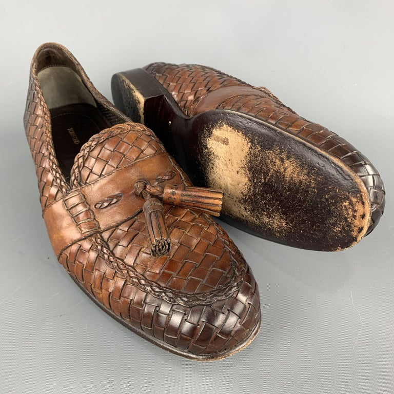 Brown TOM FORD Size 11 Tan Woven Leather Slip On Loafers For Sale