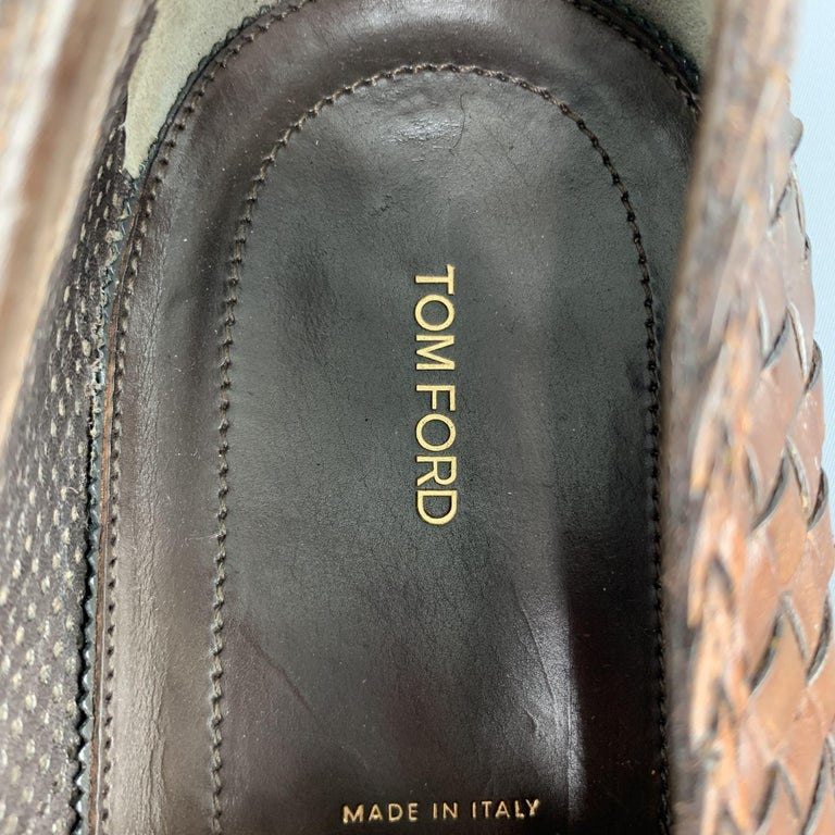TOM FORD Size 11 Tan Woven Leather Slip On Loafers For Sale 1