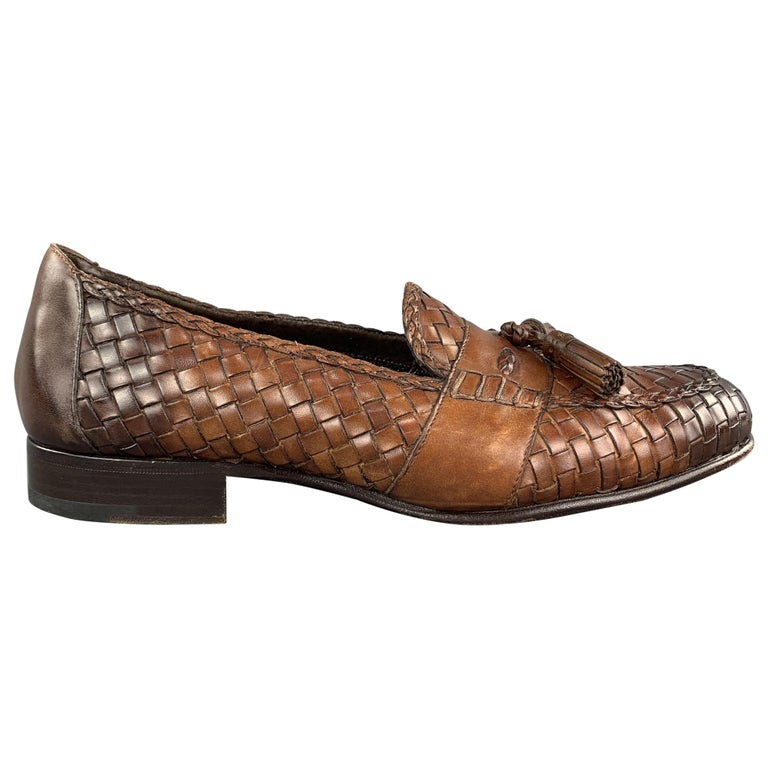 TOM FORD Size 11 Tan Woven Leather Slip On Loafers For Sale