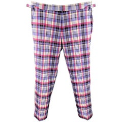 TOM FORD Size 32 Lavender & Pink Plaid Silk / Cotton Zip Fly Dress Pants