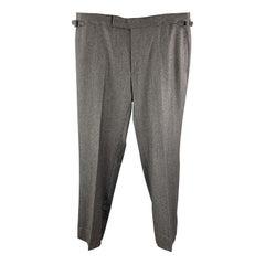 TOM FORD Size 38 Dark Heather Gray Wool Blend Side Tab Dress Pants