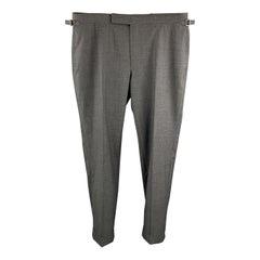 TOM FORD Size 40 Dark Gray Wool Side Tab Cuffed Dress Pants