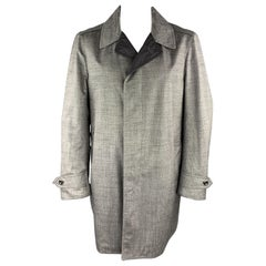 TOM FORD Size 44 Grey Heather Wool Blend Woven Waterproof Reversible Trench Coat