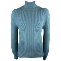 TOM FORD Size 44 Teal Ribbed Knit Cashmere Turtleneck Sweater