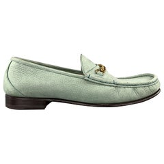 TOM FORD Size 9 Teal Textured Leather Slip On Gold York Chain Loafers