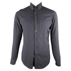 TOM FORD Size M Black Solid Cotton Button Down Long Sleeve Shirt