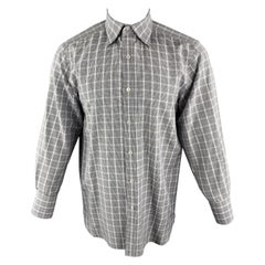 TOM FORD Size M Blue & Grey Plaid Cotton Pointed Collar Button Up Shirt