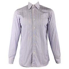 TOM FORD Size M Blue & White Vertical Stripe Cotton Long Sleeve Shirt