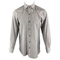 TOM FORD Size M Grey Plaid Cotton Spread Collar French Cuff Long Sleeve Shirt