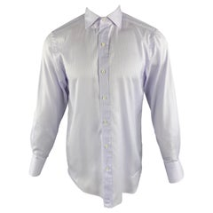 TOM FORD Size M Lavender Stripe Cotton Spread Collar Button Up Long Sleeve Shirt