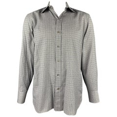 TOM FORD Size XL Black & White Plaid Cotton Button Up Long Sleeve Shirt