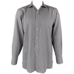 TOM FORD Size XL Navy & White Plaid Cotton Button Up Long Sleeve Shirt