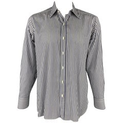TOM FORD Size XL Navy & White Vertical Stripe Cotton Button Up Long Sleeve Shirt