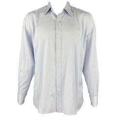 TOM FORD Size XL White & Blue Pinstripe Cotton French Cuffs Long Sleeve Shirt