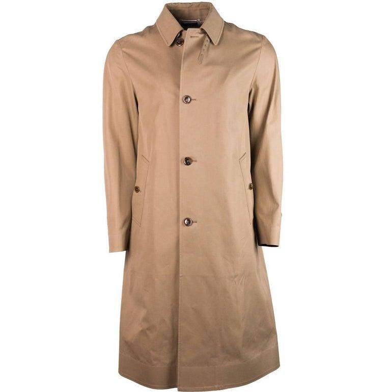 Tom Ford Tan Brown 100% Cotton Adjustable Belt Back Trench Coat