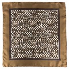 TOM FORD Tan & Brown Geometric Spot Print Silk Pocket Square