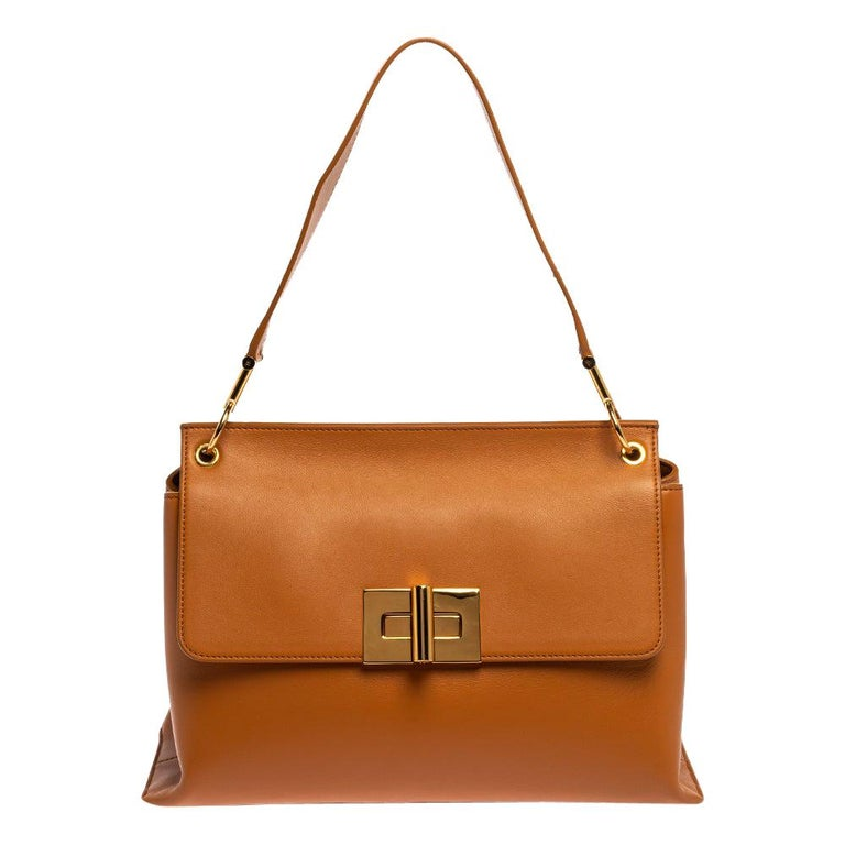 Tom Ford Tan Leather Natalia Shoulder Bag For Sale