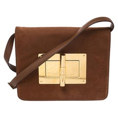 Tom Ford Tan Suede and Leather Medium Natalia Shoulder Bag