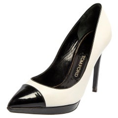 Tom Ford White/Black Patent Leather And Leather Pointed Toe Pumps Size 39.5