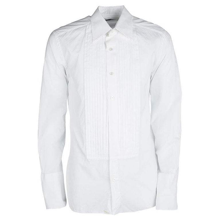 6f3ef02124 Tom Ford White Cotton Pintuck Detail Long Sleeve Button Front Tuxedo Shirt  XL For Sale