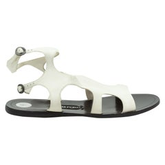 Tom Ford White Leather Cutout Sandals