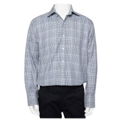 Tom Ford White & Navy Blue Checkered Cotton button Front Shirt XL