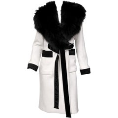 Tom Ford White Wool Coat with Fox Fur