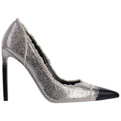 Tom Ford Womens Metallic Silver Frayed Canvas Pumps
