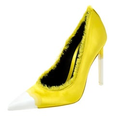 Tom Ford Yellow Ombre Satin Frayed Pointed Toe Pumps Size 38