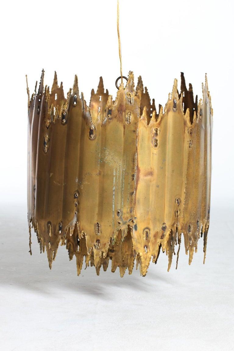 American Tom Greene Brutalist Torch Cut Barrel Chandelier For Sale